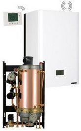 Chaudiere gaz frisquet basse temperature hydromotrix evolution visio 32kw mixte a semi accumulation
