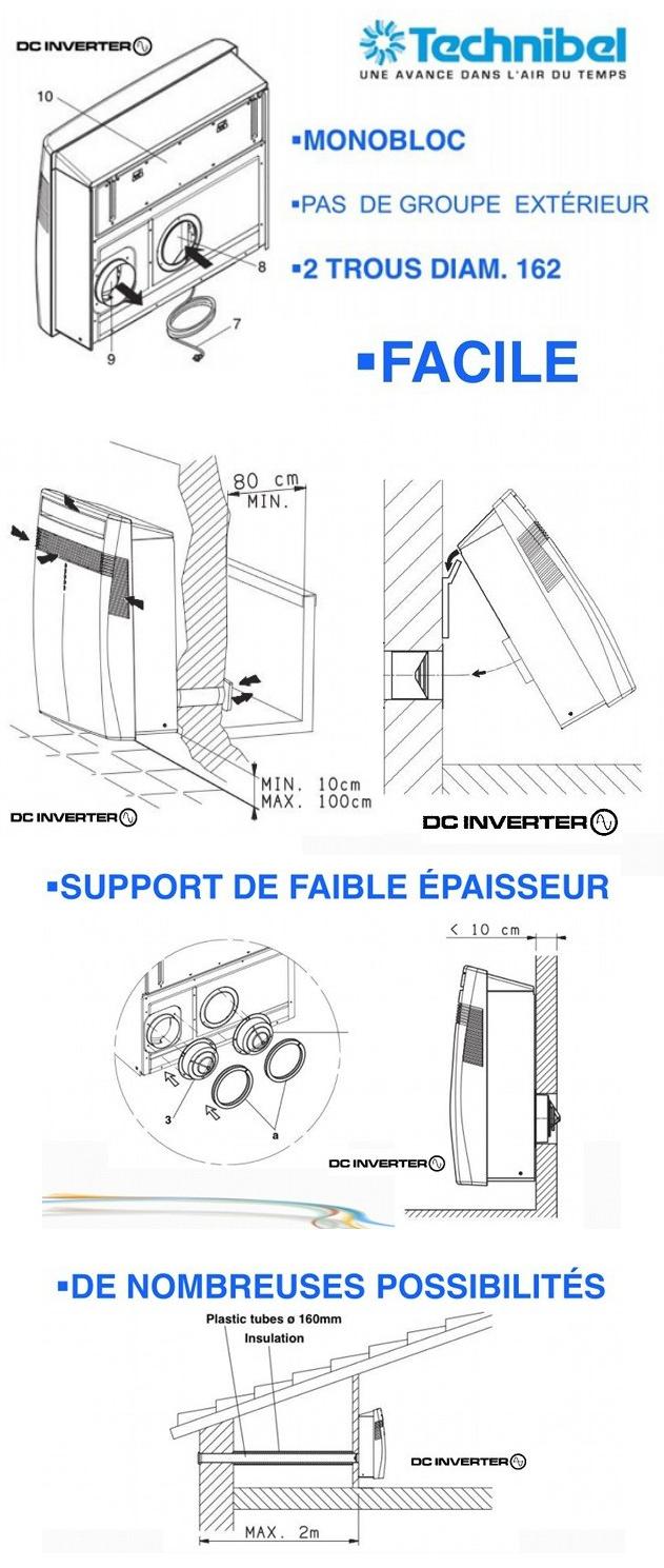 Climatiseur fixe mural sans groupe ext rieur r versible technibel inverte - Climatiseur reversible fixe ...