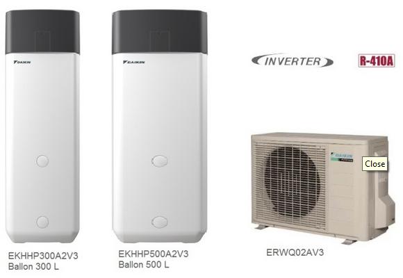 Daikin ekhhp a2v3 sol 500 litres bibloc chauffe - Chauffe eau thermodynamique 300 litres ...