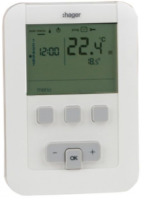 Hager thermostat d ambiance 2 fils programmable 7j ek520