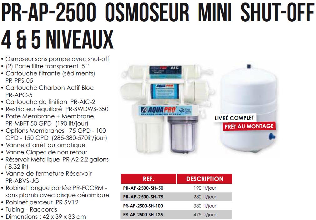Osmoseur d eau aquapro osmoseur mini shut off 4 5 niveaux 1